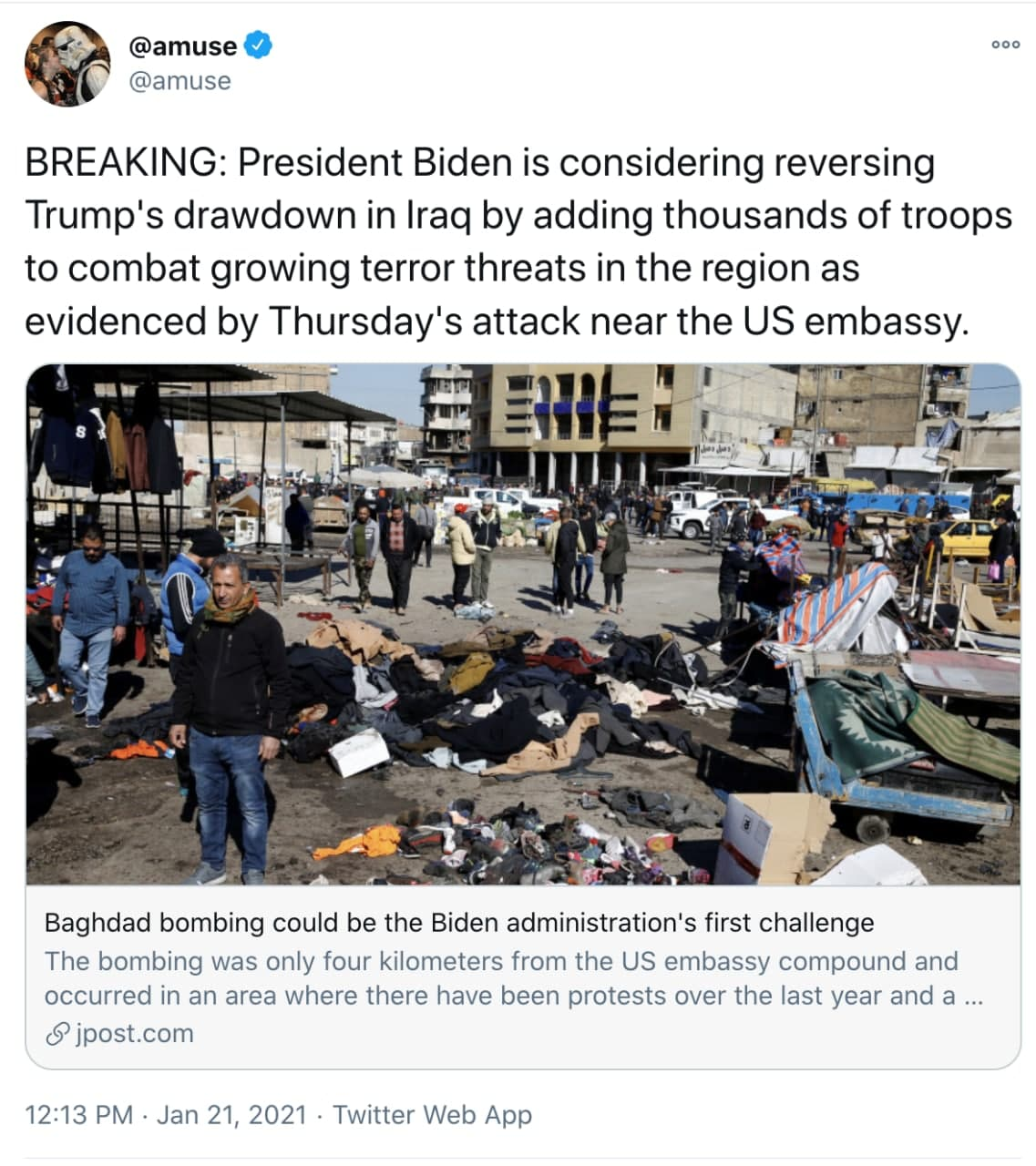 Americans voted to die in Iraq by electing President Biden