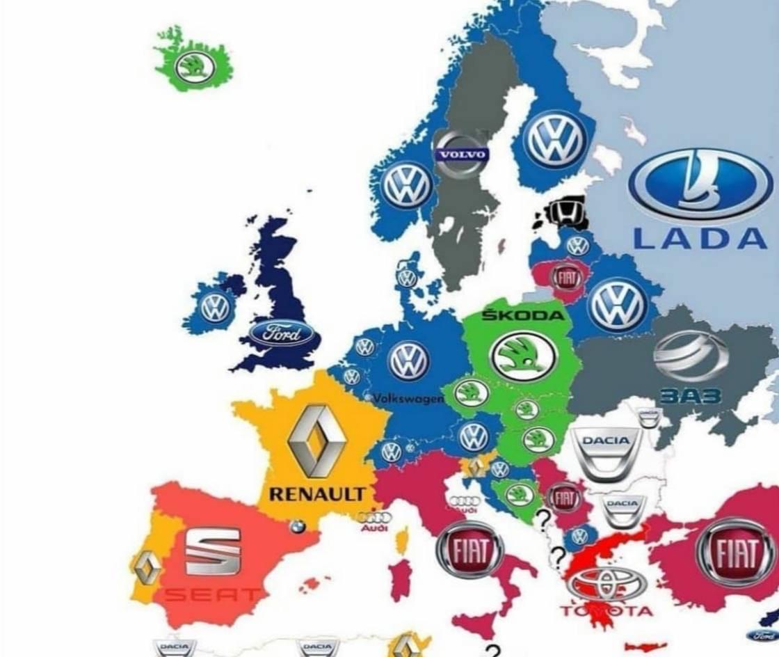 Самые популярные марки машин в странах Европы