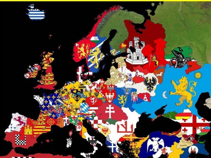 Карта Европы в 1215 году
