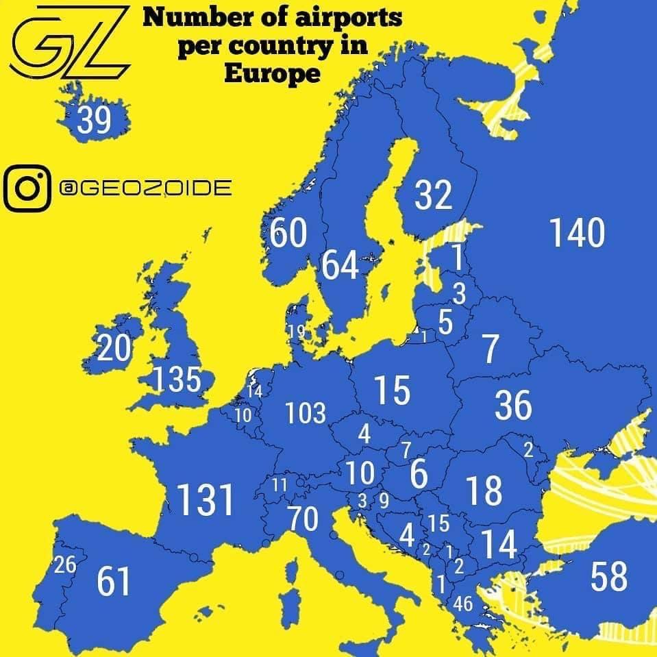Число аэропортов в странах Европы