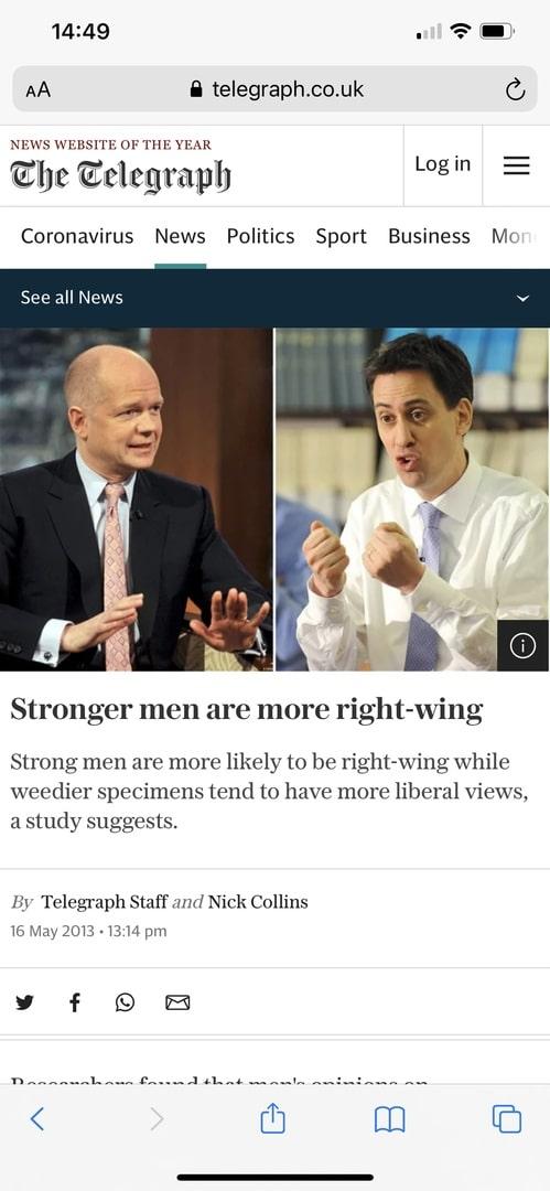 Левые чаще правых являются слабыми физически